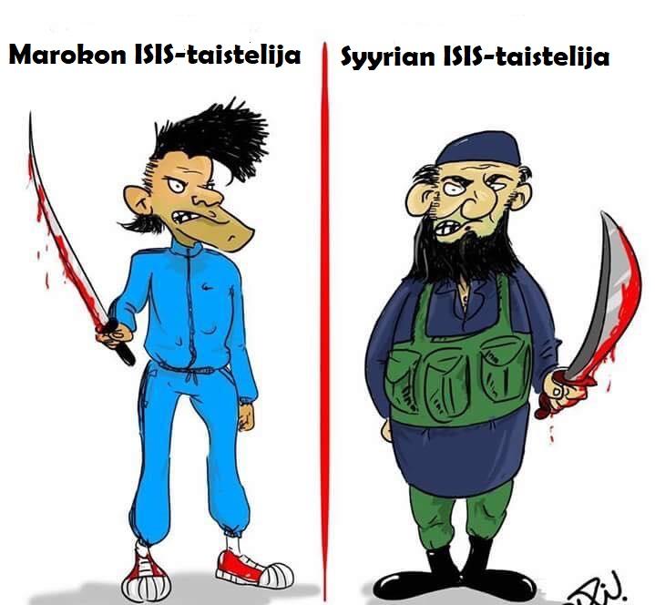 Karikatyyri Marokon versus Syyrian Isis taistelijoista
