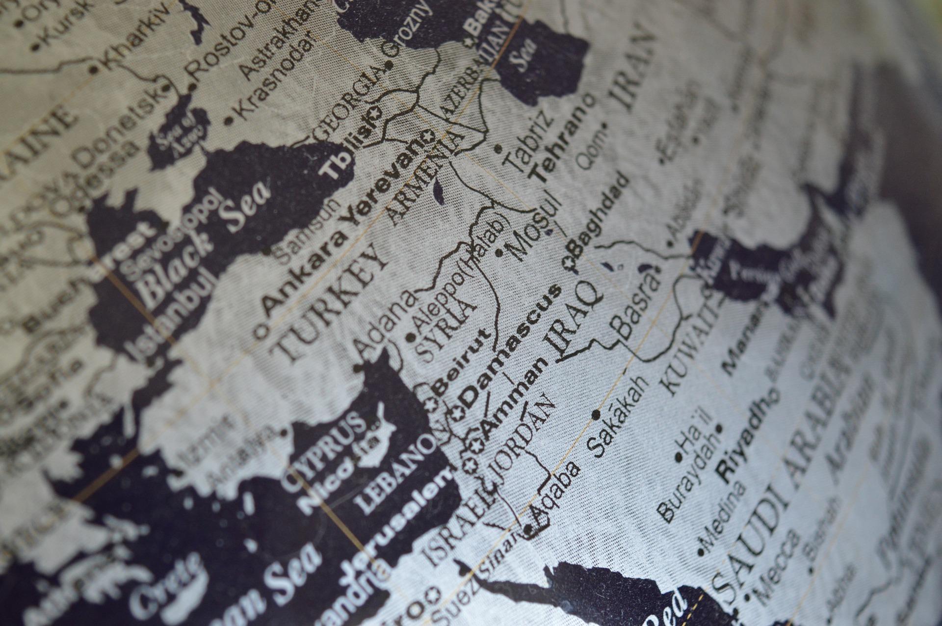 kuvituskuva, Lähi-itä karttapallon pinnalla