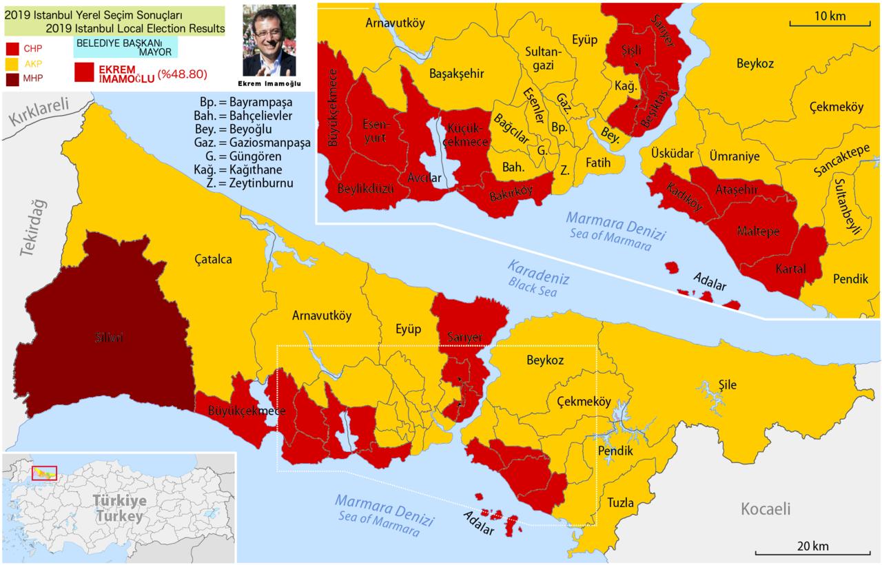 Istanbulin äänestystulosten kartta
