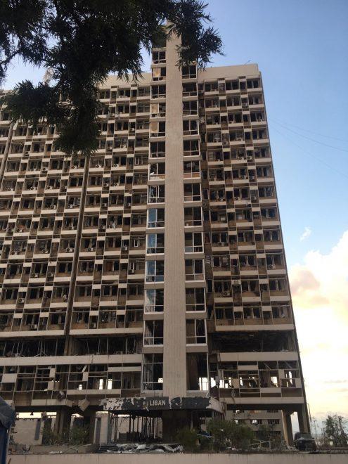 Räjähdyksessä tuhoutunut Electricity du Libanin rakennus, Beirut