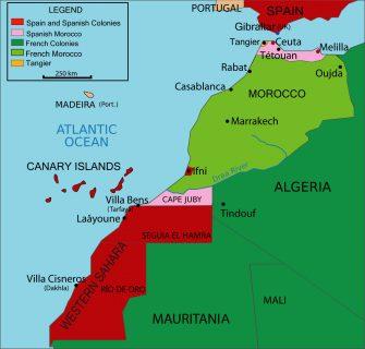 Kartta. Marokko ja naapurusto siirtomaa-ajalla