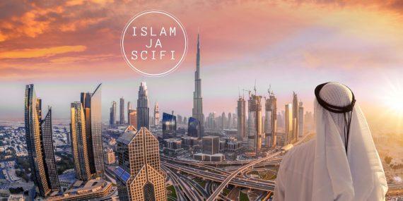 Mies, jolla on valkoinen Persianlahden arabimiesten käyttämä huivi päässä katsoo pois päin kamerasta kuvan oikeassa alareunassa. Taustalla näkyy futuristinen kaupunki, jossa on paljon pilvenpiirtäjiä.